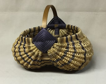 Round Hand Woven Egg Basket with Dark Blue Accent Weaving