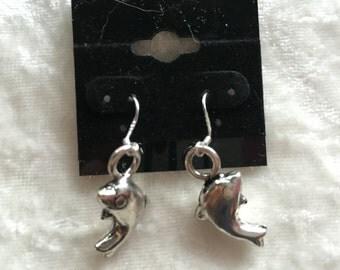 Dolphin Earrings, Silver Earrings, 3d Dolphin, Gift for Her, Dangle Earrings, Animal Earrings, Sea Life Earrings, Dolphin Jewelry