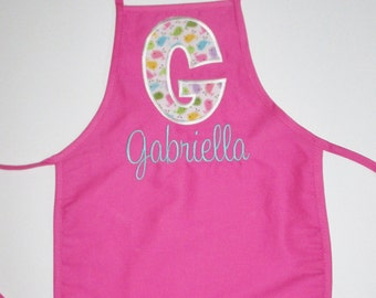 PERSONALIZED Child's Apron with Child's Initial and Name - Choose your colors