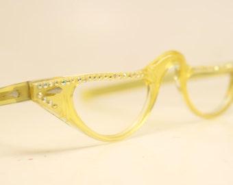Yellow Rhinestone Cat eye reading glasses vintage glasses frames cat eye readers
