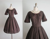 STOREWIDE SALE 50's Dress // Vintage 1950's Brown Plaid Full Casual Day Dress s