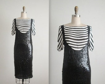 STOREWIDE SALE 80's Beaded Dress // Vintage 1980's Black White Striped Sequin Cocktail Party Evening Dress XS