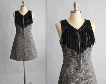 60's Fringe Dress // Vintage 1960's Black White Woven Fringe Mod A line Dress S M