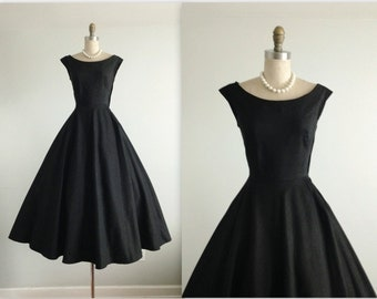 50's Dress // Vintage 1950's Black Rayon Faille Full Cocktail Party Evening Dress XS