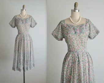 40's Floral Dress // Vintage 1940's Sheer Floral Print Nylon Pleated Garden Party Full Summer Day Dress L