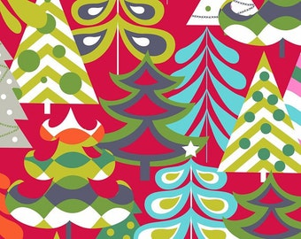 Treelicious Tis the Season | Red Christmas Trees | Blend Fabrics | By the Yard