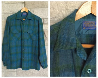 Vintage Pendleton Shirt * Houndstooth Check Plaid * Green and Blue Wool Button Down * Men's Size Small