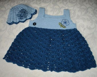 Shades of Blue Dress and Hat Set