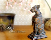 Bast Altar Statue - Bastet - Ancient Egyptian Goddess of Protection - Handcrafted Polymer Clay Kemetic Statue - Aged Bronze Patina Finish