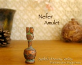Nefer Amulet - Ancient Egyptian Symbolic Vessel for Beauty, Vitality, Fortune & Happiness - Handcrafted Clay Pendant - Copper Patina Finish