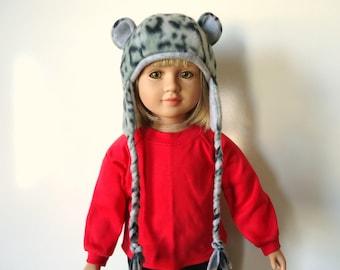 Snow Leopard Hat black and grey ears fleece braids fits 23 inch Doll