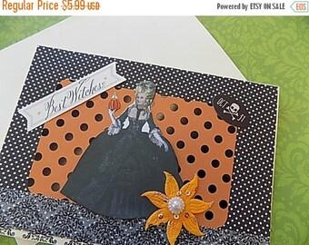 Marie Antoinette Halloween Card - Blank Greeting - Orange Black