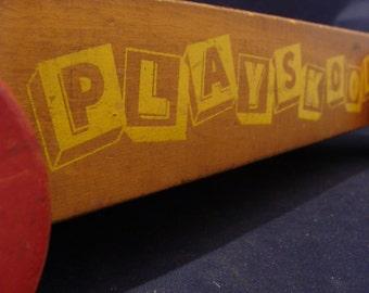 1940's Playskool Wagon Great Display Vehicle! Solid Wood Pull Toy