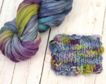 "Hand dyed yarn thick and Thin Yarn hand spun merino ""African Violets"""