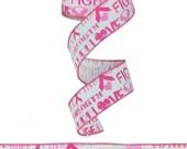 1.5 Inch Breast Cancer Ribbon RG1486, Poly Mesh Supplies