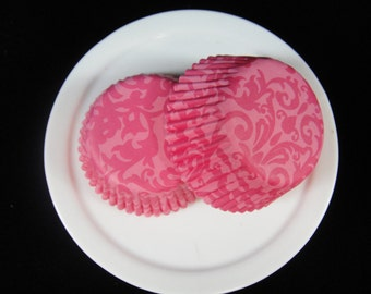 Pink Damask Mini Cupcake Liners, Mini Baking Cups, Mini Muffin Papers, Candy Cups, Damask Cupcake Liners- QTY. 25