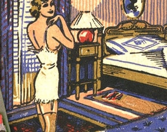 Girl in Underwear Matchbook Print Retro Mattress Advertising Feature Matchbook Wall Decor Print 1930s Girl Undressing Bedroom Wall Decor