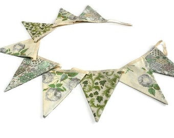 Country Cottage Bunting Vintage style with Grey  ROSES and cream and green Fabrics