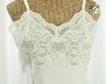 Fischer Heavenly Silk 1940's Sheer Chantilly Lace Bodice Slip Dress High End Elegance Pristine Like New Antique Condition Size 34