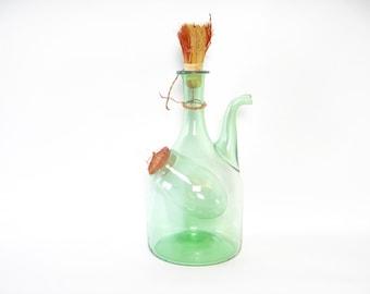 Vintage Hand Blown Green Glass Wine Decanter