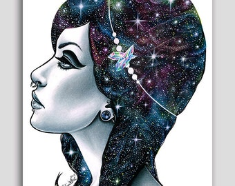 Interstella - 18x24 in Poster Print - Outer Space Cosmic Galaxy Cosmos Girl Drawing Portrait