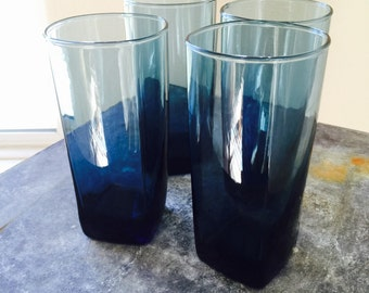Vintage Tall Blue Drinking Glasses with Square Bottoms