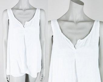 Antique 1910s Lingerie / Edwardian White Cotton Minimalist Step In Underwear S M