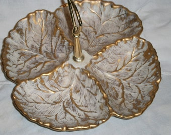 Vintage Ivory and Gold Handled Haeger Dish