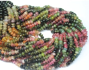VALENTINE SALE 55% Watermelon Multi Tourmaline smooth polished button rondelle beads, 14 inches, 5mm, SKU4951/S