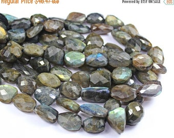 45% GOOD FRIDAY SALE Natural Blue Grey Flash Fire Labradorite Faceted Oval Shape Nuggets Beads Strand, 10 Inches, 13-21mm, Sku7373A