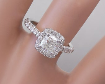 GIA G-VS2 18k White Gold Cushion Cut Diamond Engagement Ring Halo 1.60ctw