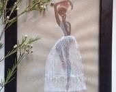 Ballerina painting, Original painting, african american art, ballerina elegance