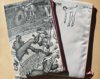 Cosmetic Bag featuring Doodle Pad Art by David Jablow High Wire