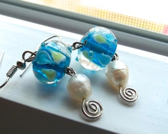 Blue and Green Glass and Pearl Earrings