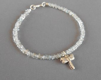 Aquamarine bracelet silver 925 pendant dragonfly / 7 inches long