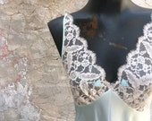 Vintage Aquamarine Full length Lace Nightgown