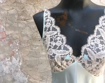 Vintage Aquamarine Full length Lace Nightgown Lucie Ann