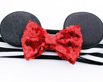 Minnie Mouse Ears Headband with RED Sequin Big Messy Bow Headband - Matches Disney Vacation Shirts - Babies and Toddlers