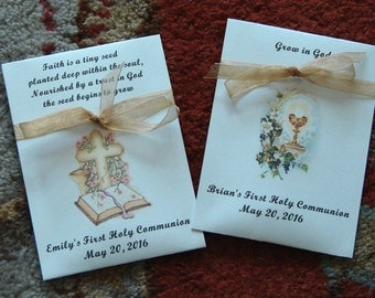 Customized First Communion Seed Packet Favors