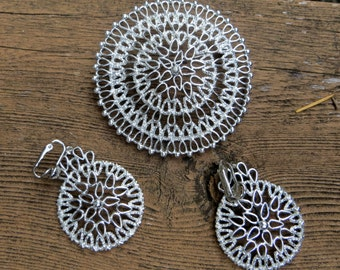 Big and Bold Sarah Coventry Brooch and Earrings Silver Filigree Vintage Jewelry