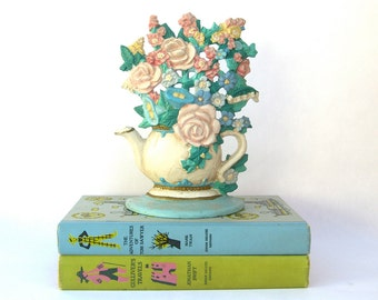 Teapot Flower Bookend Doorstop, Vintage Midwest, Shabby Chic Cottage, Library Prop Display, Springtime Pastels