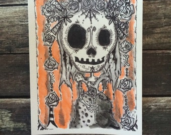 Day of the dead sugar skull catrina dia de los muertos Illustration cute creepy 6x8 marker and watercolor sketch LuLusApple