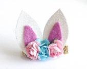 Easter bunny ears  hair clip or headband / boutique ribbon hair clip / baby hair clip / girl hair clip / barrette / baby headband