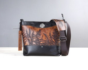 LIMITED EDITION Leather Camera Satchel Bag - Fern Embossed Leather Convertible Handbag with Insert