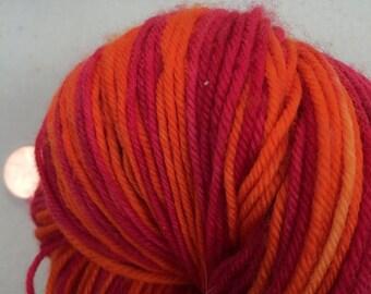 Red and Orange Self Striping Sock Yarn Superwash Merino Sport Weight