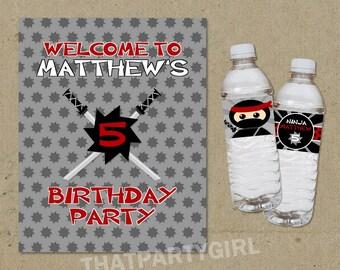 Ninja Birthday Party Water Bottle Labels and Welcome Sign - DIY Digital U Print
