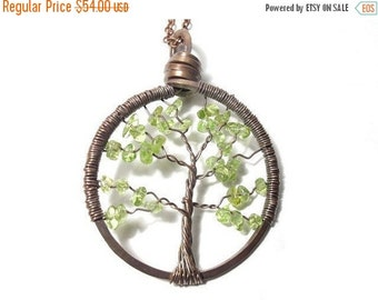 25% OFF Vacation Sale Tree of Life Antiqued Copper Necklace in Peridot.