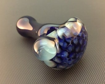 Cobalt Glass Silver Fumed Honeycomb Tobacco Spoon Pipe