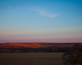 Kansas Tallgrass Prairie Sunset Photograph 8x10 Color Print Home Decor
