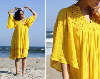 70s Boho Dress XS/S • Yellow Dress • Bell Sleeve Dress • Beach Coverup • Cotton Sundress • Flowy Dress • Cotton Summer Dress | D908